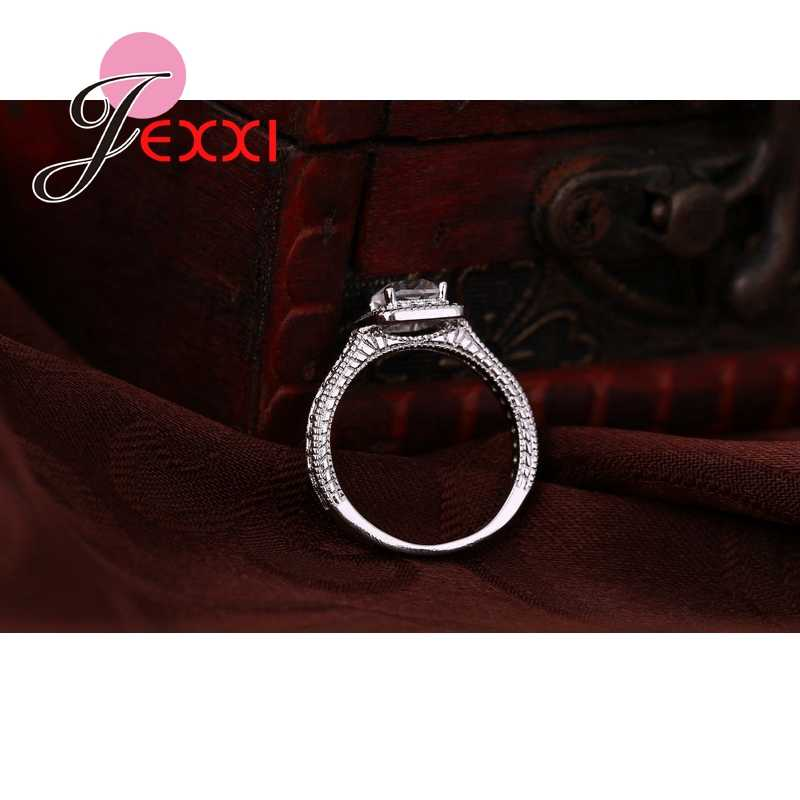 925 Sterling Zilveren Ring Sets Met Volledige Witte Hoge Kwaliteit CZ Crystal Voor Vrouwen/Meisjes Charme Sieraden Met 2 PCS Groothandel