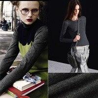 elastic fabric pure silk worstedwool f abric bottoming sweater skirt fabric high grade black ash