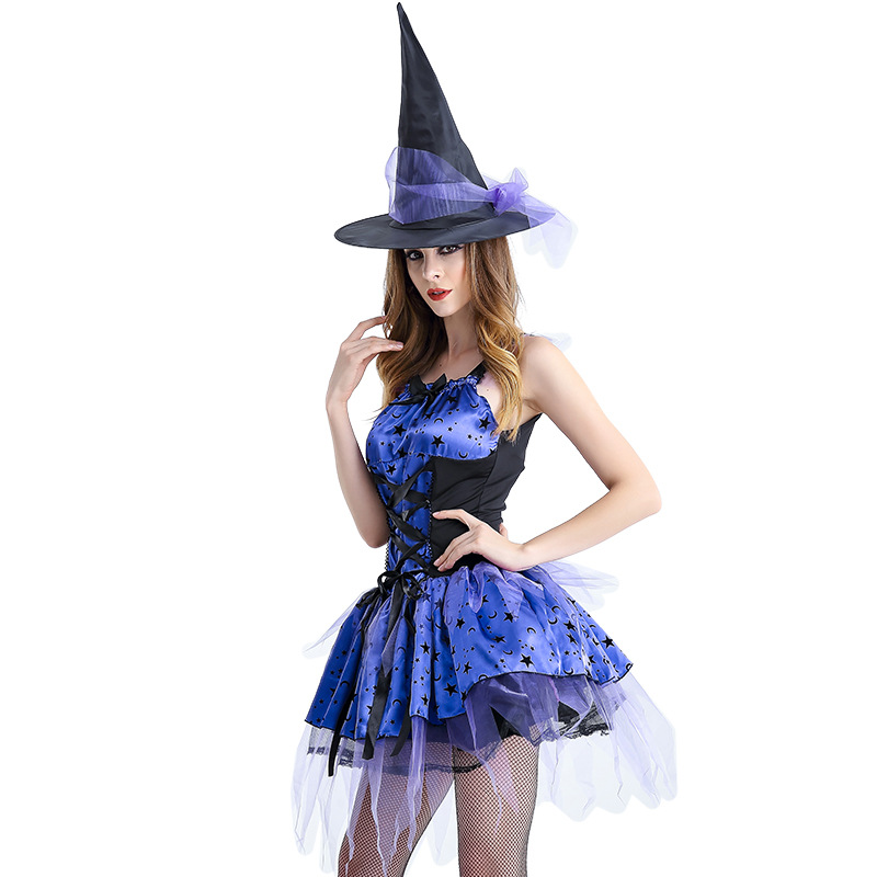 Новое поступление для взрослых синий ведьма Косплэй Disfraces Хеллоуин костюм COS Фэнтези Экзотические одежда Лидер продаж 8521H1774102
