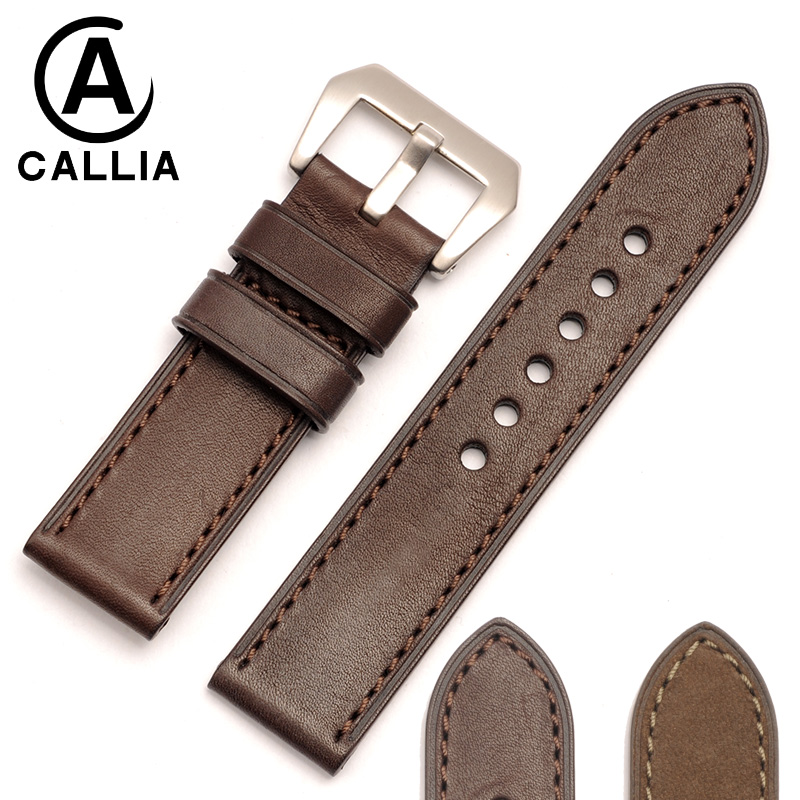 Handmade Italian Vintage Genuine Calf Hide Leather Watch Band Strap For Panerai PAM Watchband 20mm 22mm 24mm 26mm new arrive top quality oil red brown 24mm italian vintage genuine leather watch band strap for panerai pam and big pilot watch