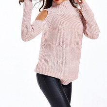 Turtleneck cold shoulder knitted sweater women Casual cotton streetwear pullover sweater female Sexy autumn winter jumper cold shoulder bodycon mini sweater dress