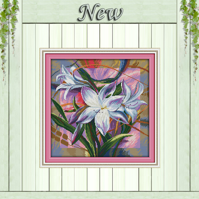 Lily Pretty Flower Vase Decor Painting Counted Print On Canvas Dmc