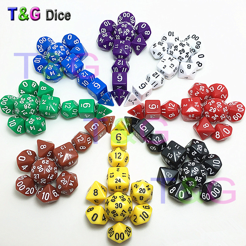 New <font><b>Dice</b></font> Set in 8 Colors <font><b>d4</b></font>,d6,d8,3xd10,d12,d20,d24,d30 <font><b>10</b></font> <font><b>pcs</b></font> for Rpg Game <font><b>Dice</b></font> with Bags image