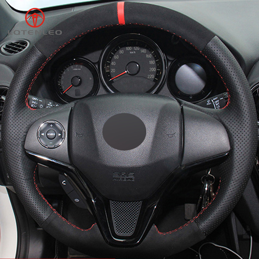 LQTENLEO Black Genuine Leather Suede Hand stitched Car Steering Wheel Cover for Honda New Fit City