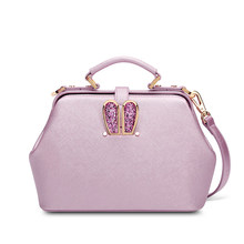 Super Cute Ears Ladies Shoulder Bag Fashion Classy Elegant Handbag Black Pink PU Leather Bag Women's Trendy Casual Doctor Bag
