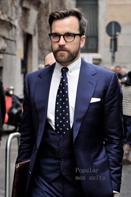 Custom Made Gentleman Navy Blue Men Suits Slim Fit Groom Tuxedos Wedding Business Prom Suits 3 pieces (Jacket+Pants+Vest+Tie)