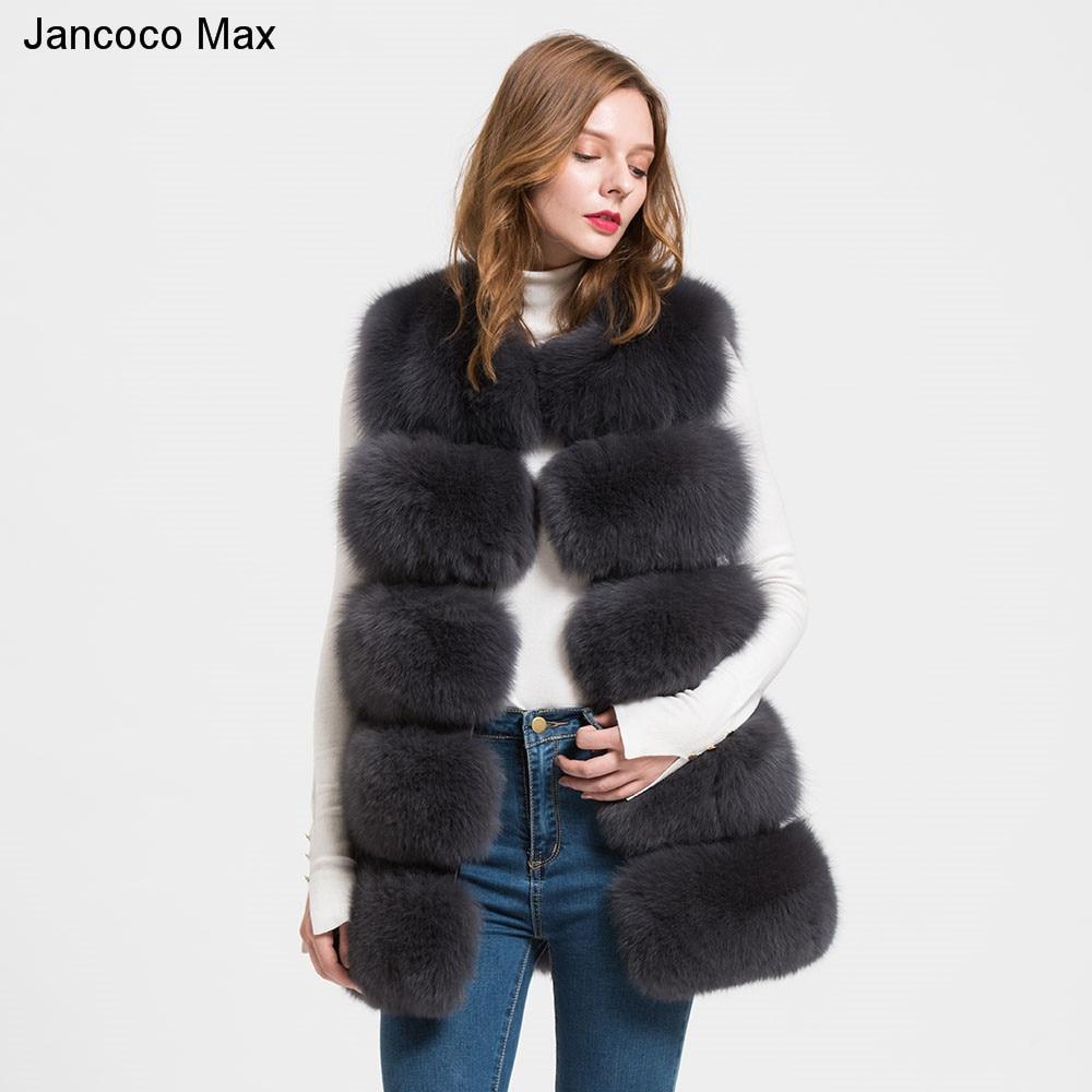2019 New 5 Row Style Real Thick Fox Fur Gilet Ladies Winter Warm Fashion Soft Vest