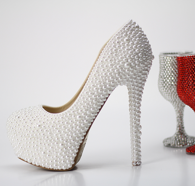 Sweet white pearl wedding shoes ultra high platform shoes thick up heel bride single shoes anti-slip soles women's shoes