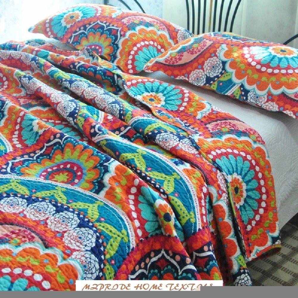 WINLIFE Colorful Flowers Print Quilt Set Boho Bedding Set ...