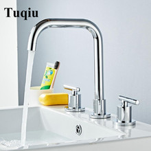 Basin Faucets Brass Gold/Chrome Deck Mounted Widespread Bathroom Sink Faucets 3 Hole Double Handle Hot And Cold Water Tap double handles 3pcs waterfall chrome polished basin faucets deck mounted