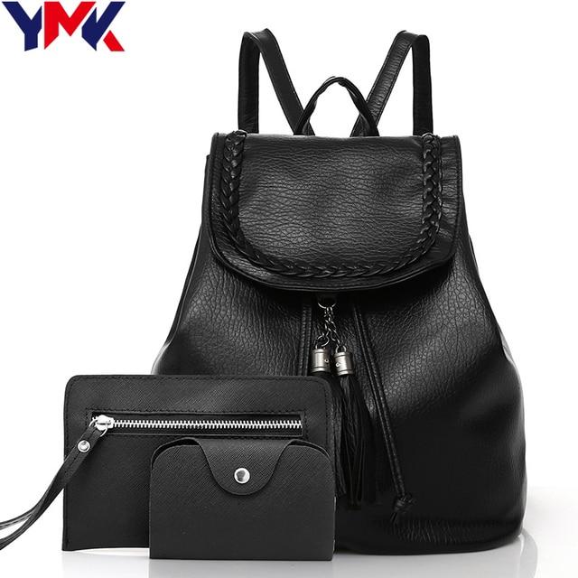 Fashion PU Leather backpack Women school bags for teenage girl Tassel bag  Female Travel card Bag 3pc Set cfb3005714
