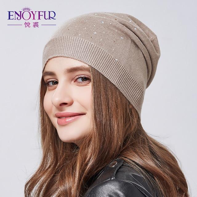 3dd44f6de5a ENJOYFUR women hat for spring knitted skullies street fashion hats 2018 new  arrival casual caps good