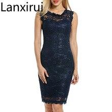 Lanxirui 2018 Fashion Dress Vestito Delle Donne O -Collo Senza Maniche In Pizzo Abiti Per Le Occasioni Speciali Oct