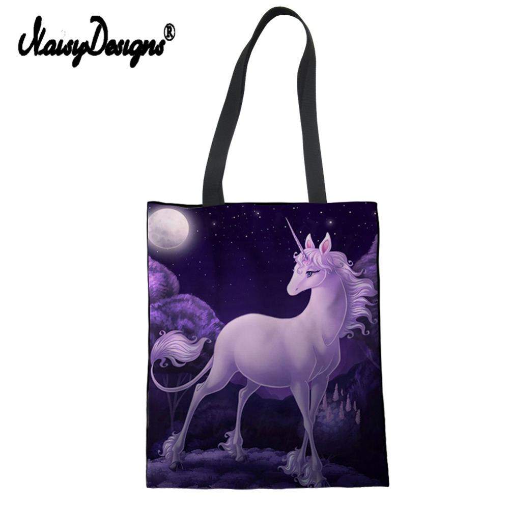 266a27518373 Fashion Last Unicorn Print Female Shoulder Bag Environmental Protection  Shopping Fold Tote Bags Women Eco Cloth Handbag Custom