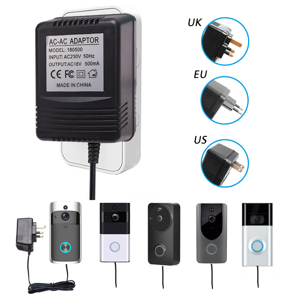 TUYU US UK EU Plug 18V AC Transformer Charger For Wifi Wireless Doorbell Camera Power Adapter IP Video Intercom Ring 110V-240V