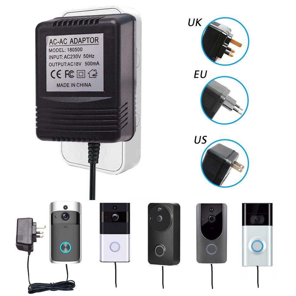 TUYU US UK EU Plug 18V AC Transformer Charger For Wifi Wireless Doorbell Camera Power Adapter IP Video Intercom Ring 110V-240V
