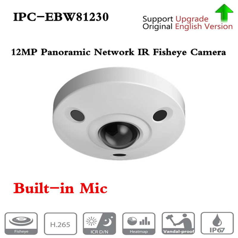 Original DH English version IPC-EBW81230 <font><b>12MP</b></font> Panoramic Network IR Fisheye <font><b>Camera</b></font> H.265/H.264 3DNR AWB AGC BLC IP67 IK10 PoE image