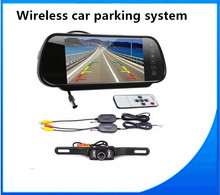 Auto 800*480 Car Mirror Monitor 7 inch Dashboard screen + Car Wireless backup parking car plate license Rear Camera system kits