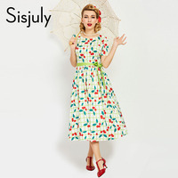 Sisjuly 1950s vintage women dress white luxury pin up floral print party style dresses elegant famale vintage 2017 new dresses
