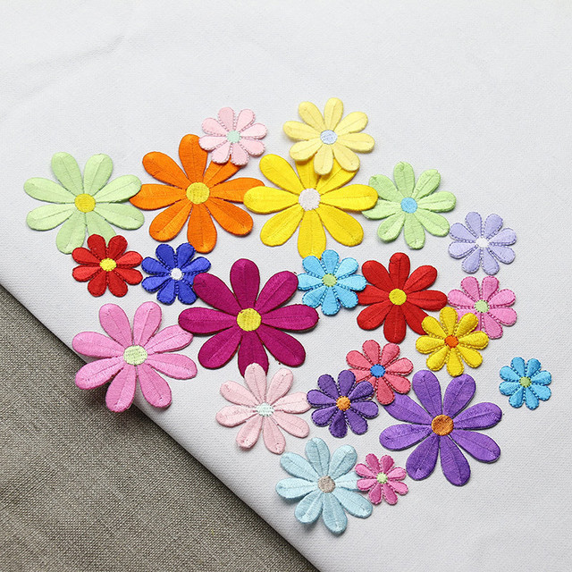 Embroidered Applique Small Flowers Patch Iron On Sew Diy Craft