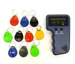 Handheld 125KHz RFID Duplicator Copier Writer Programmer Reader + EM4305 T5577 10 Keys 10 Cards Rewritable ID Keyfobs Tags Card