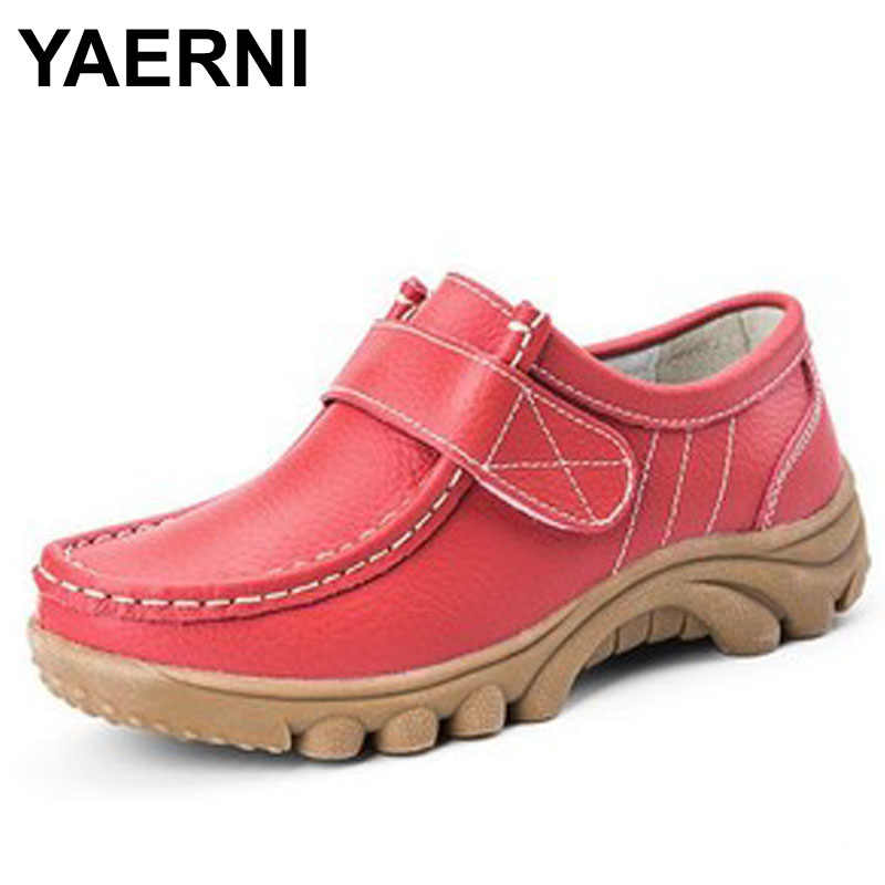 YAERNI Women's Shoes Genuine Leather Casual Woman Lace up Loafers Moccasins Female Flats Solid Low Heel Lady Shoe Soft Footwear