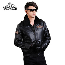 Fashion Casual Winter Windbreaker Anti-Abrasion Cappotto Motorcycle Genuine Cowskin Leather Jacket Men Airborne Flight Suit Coat