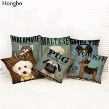 Hongbo Cushion Cover Lovely Cute Pug Dog Pillowcases Cotton Linen Printed Euro Pillow Covers Decorative Pillows