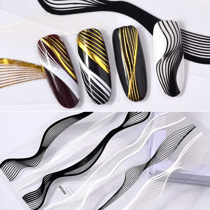 Nail Art Stickers Laser Gold Metal Stripe Line Tape Self-Adhesive Transfer Foils Decals DIY Tips Manicure Nail Art Decorations