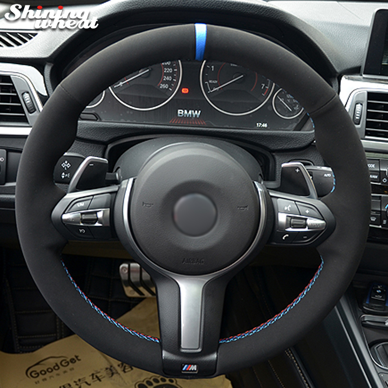 MEWANT Hand-stitched Black Suede with Leather Steering Wheel Cover Wrap for BMW F87 M2 F85 X5 M F86 X6 M 2015-2017 F80 M3 F82 M4 M5 2014-2017 F12 F13 M6 F33 F30 M Sport 2013-2017 Accessories Protector