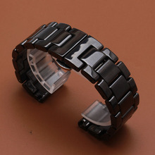 Promotion New replace 22mm Watch Band Ceramic Black Straps for Samsung Gear S3 Classic Butterfly Buckle