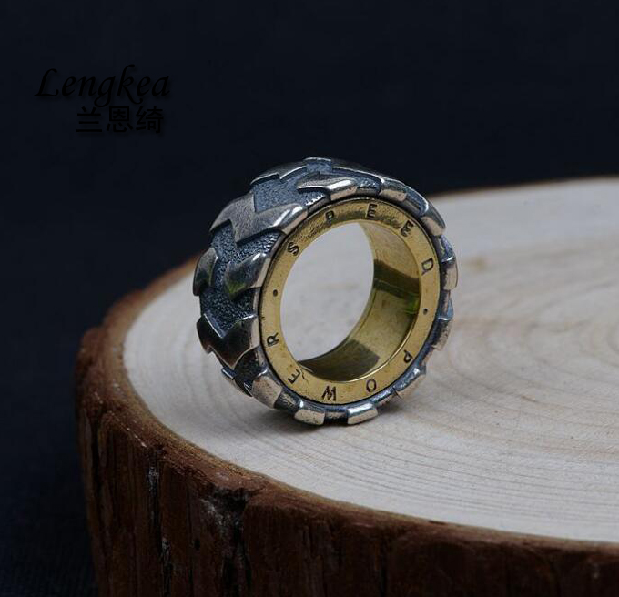 Lengkea jewery men rings Real 925 sterling silver ring personality Vintage Car Tire ring Cool men jewelry charm boyfriend Gifts