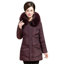 2017 Women Winter Jackets Coats The elderly Thick Warm Hooded Duck Down Padded Parkas For Women's Winter Fur Jacket Plus Size 5X