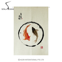 SewCrane Two Carps Greeting Words Nian Nian You Yu Home Restaurant Door Curtain Noren Doorway Room