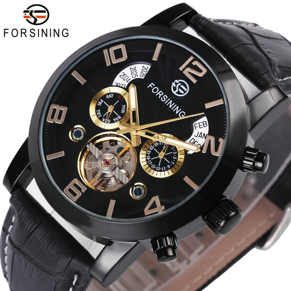 FORSINING Top Brand Luxury Tourbillon Mechanical Watch Men Leather Strap Skeleton Dial 2 Sub-dials Calendar Dress Wrist Watches winner men posh mechanical wrist watch leather strap tourbillion sub dial roman number crystal skeleton dial montre homme box
