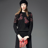 Top Fashion Women Elegant Spring Fall Unique Sequnined Twin Set Sweater Long Trousers Embroidery Slim Stretched