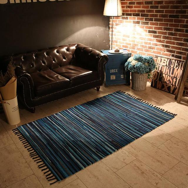 1pc Cotton Carpet 50x80cm Fashion Area Rugs Mediterranean Style Mat Kitchen Living Room Oblong Shape