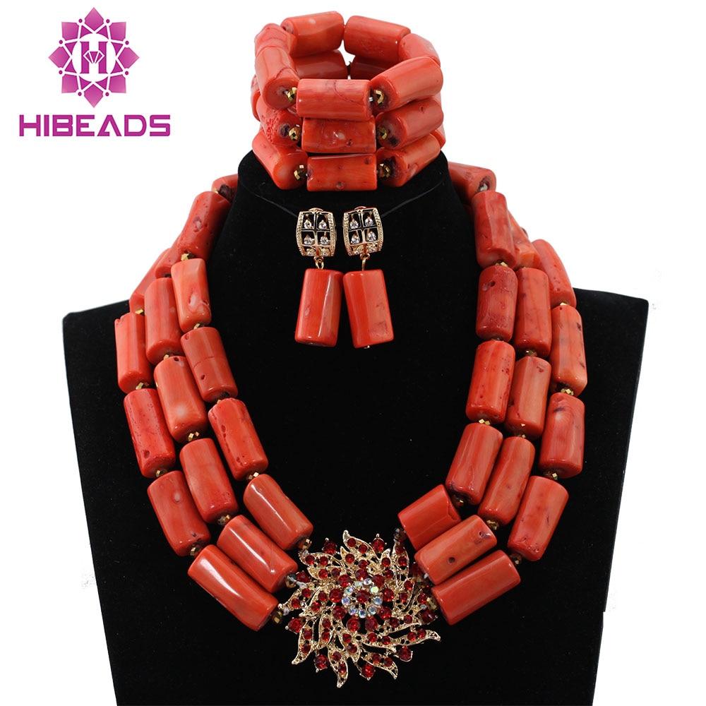 53a8a2967c2 Moda Coral Conjunto Colar de Pingente de Jóias de Casamento Africano  Conjunto de Jóias Noiva Presente Frete Grátis HX563