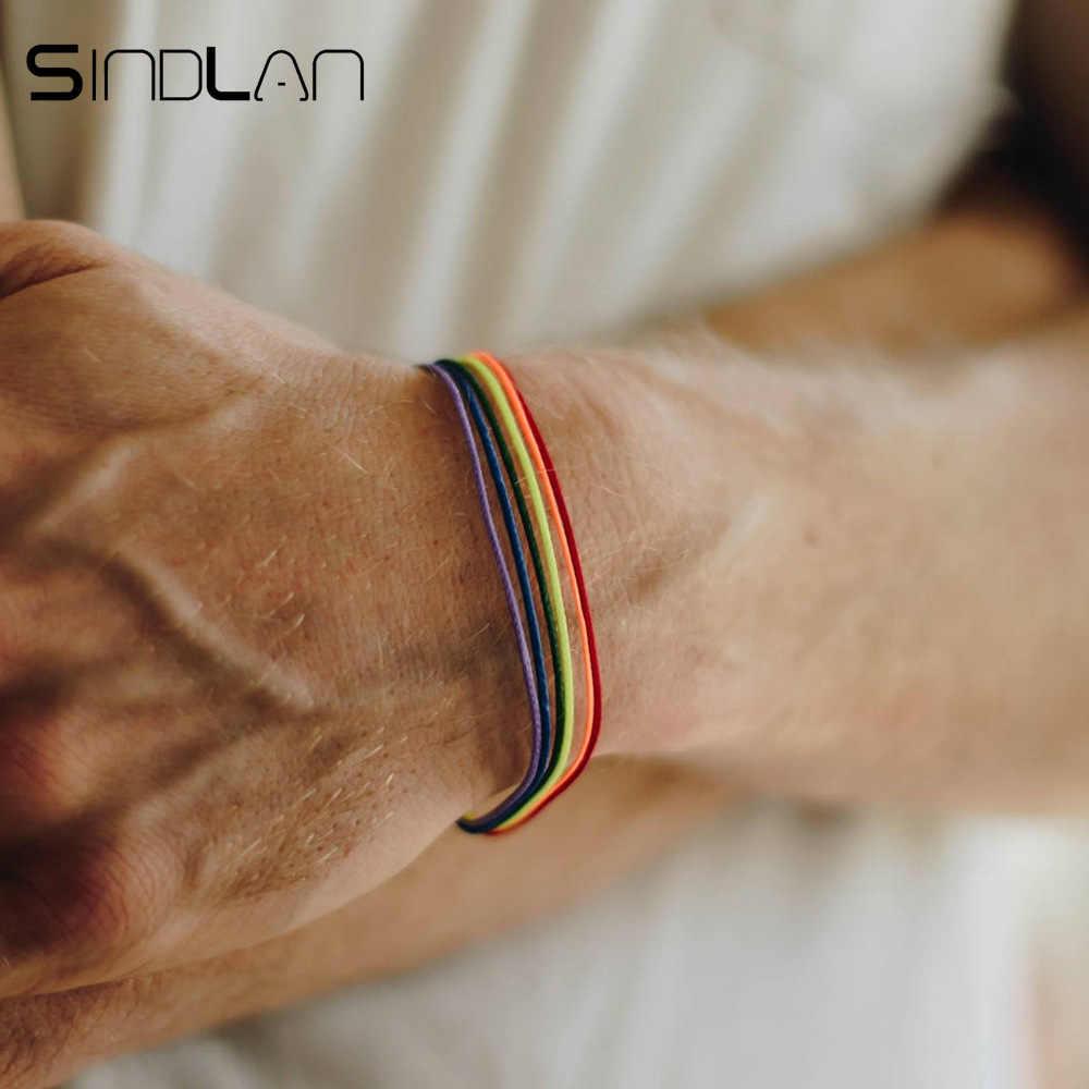 Sindlan унисекс для женщин и мужчин кожаный браслет «Радуга» Браслеты для друзей Веревка Цепи Браслеты для мужчин наручные ювелирные изделия