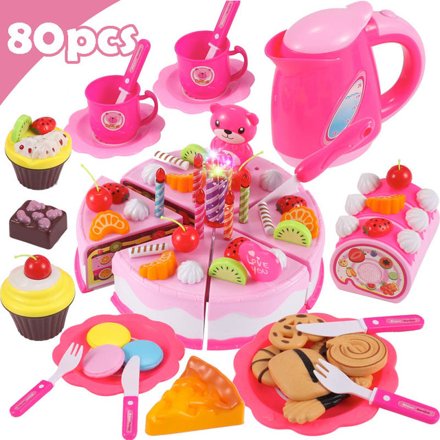 Children DIY Pretend Play Fruits Cutting Birthday Cake Kitchen Food Toys 3