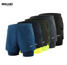 ARSUXEO Men's Running Shorts 2 In 1 Dry Fit Compression Jogging Shorts Gym Fitness Marathon Sport Shorts With Longer Liner