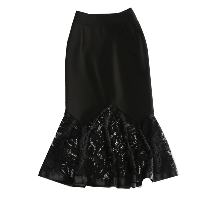 LE CELEBRE Patchwork Midi Women Skirt 2018 Black Red Casual Skirts High Waist Lace Skirts Saias Na Altura Do Joelho