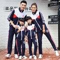 Familia paquete familiar de moda Ocasional ropa Deportiva desgaste Rojo Azul de Primavera Otoño familia campus deportivo reunión familiar set Coat + pantalones