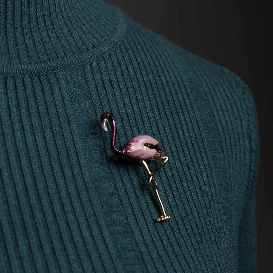 2018 Fashion Perhiasan Korea Enamel Pin Kristal Flamingo Bros Kerah Pin Pria Suit Bros Broche Hijab Vintage Bros Untuk Wanita