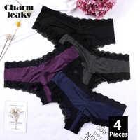 Charmleaks roupa interior feminina tanga renda g string calcinha sexy tanga briefs lingerie náilon laço laço médio cintura aconchegante 4 pacote venda quente