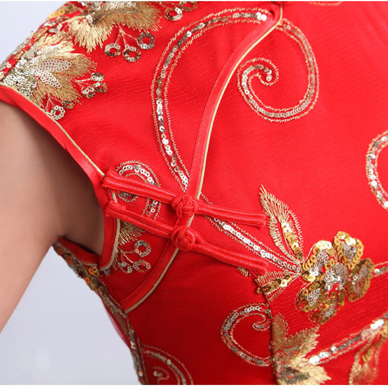 978f4fa4af4050 Rood Kant Chinese Traditionele Jurk Vrouwen Korte Cheongsam Jurk Chinese  Oosterse Jurken Vintage Trouwjurk Mini Qipao TSHN in Rood Kant Chinese  Traditionele ...