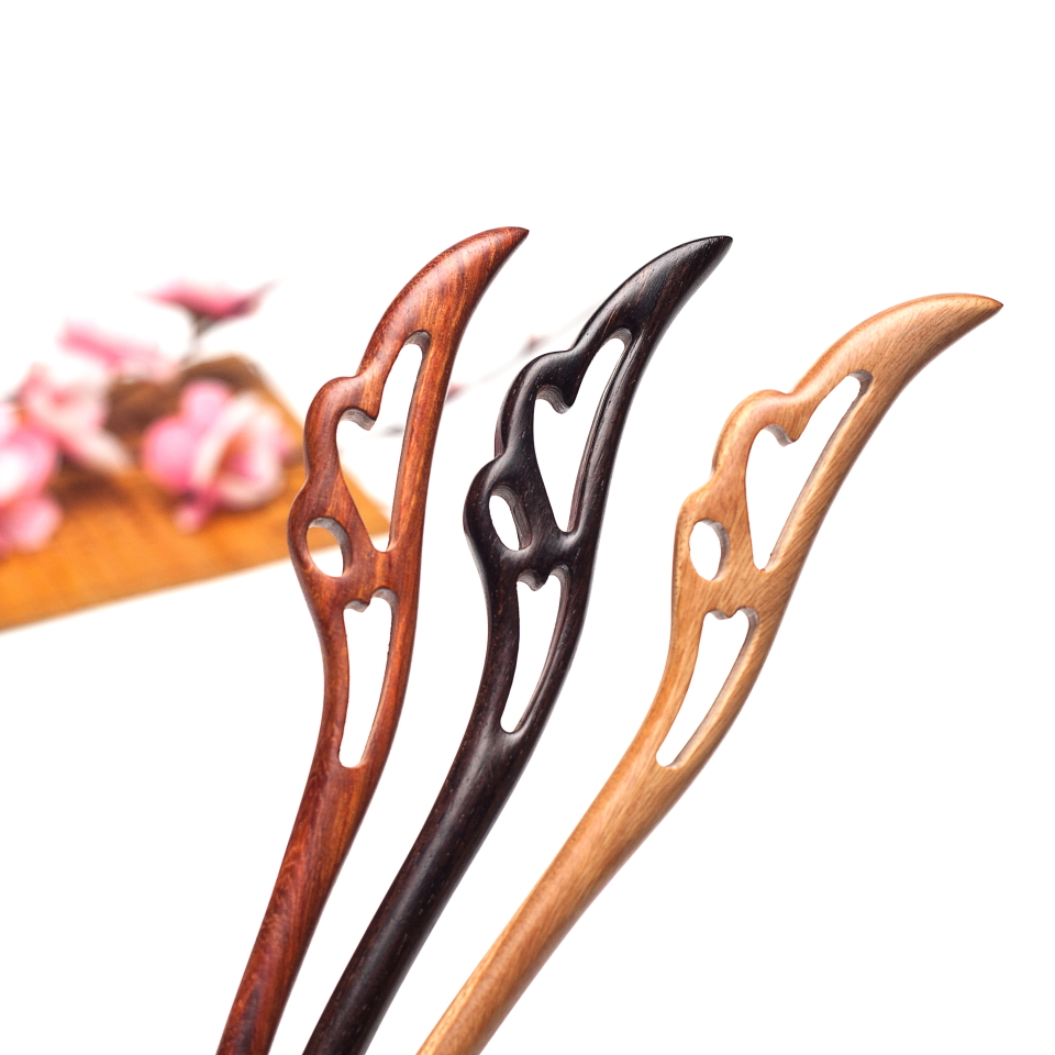 Retro Chinese Hand-carved  feather Hair stick Bob Handmade vintage Women jewelry Chinese hair stick Gift with natural fragrance