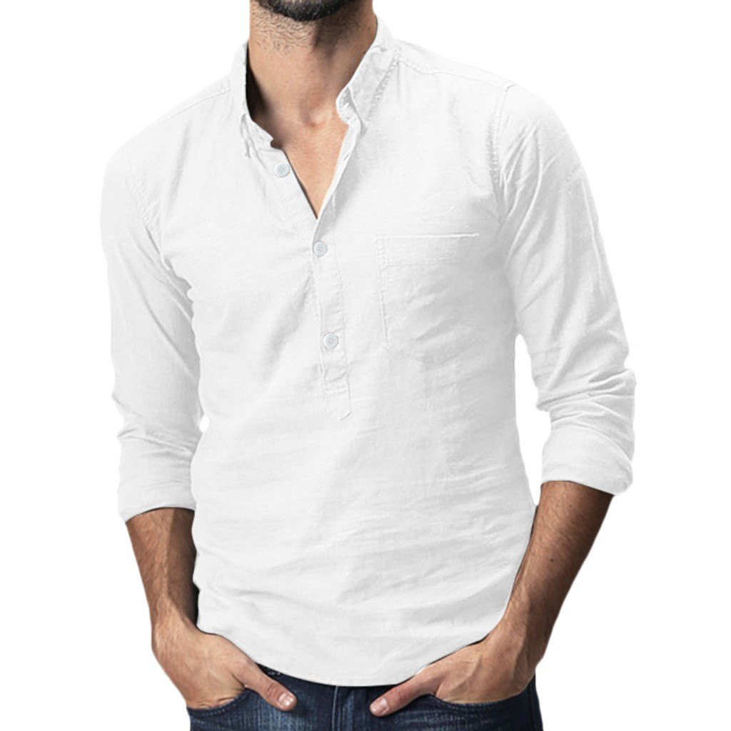 Autumn Men's Shirts Baggy Cotton Linen Solid Pocket Long Sleeve Turn-down Collar White Men Shirts Tops Tunic Blusa Masculina