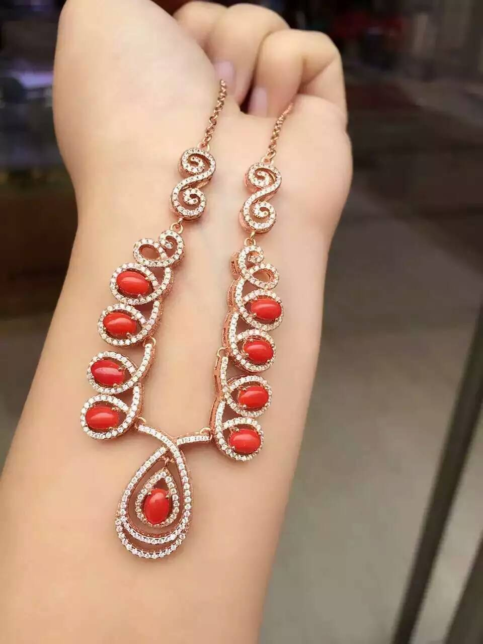 Natural Red Coral Necklace Natural Gemstone Pendant Necklace 925 sliver women Luxury water droplets engagement fine Jewelry