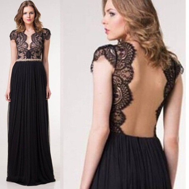 0626a5c038f24 Sexy Ladies Dresses Evening Black Lace Backless Short Sleeve Long Dress for  Pregnant Women Elegant Party Dress Mother Clothes